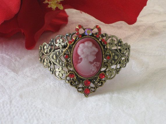 Red Cameo Bracelet Cameo Jewelry Cuff Bracelet by RalstonOriginals, $16.00