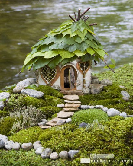 Hazel leaf faerie house by environmental artist Sally J. Smith.  More of her art at www.greenspiritarts.com