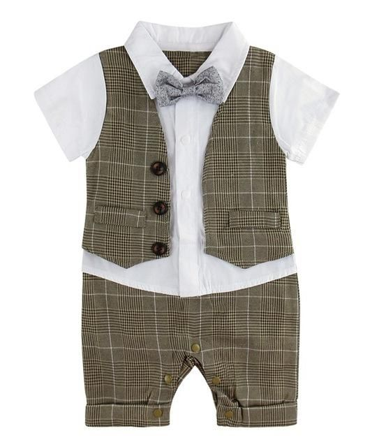 7300af9e44c5 Baby Boy Gentleman Romper with Bow Tie Infant Party Playsuit Formal Suit  for Wedding Clothes Set Pants and Shirts Tuxedo Outfit