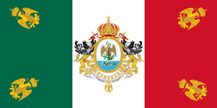 Y como septiembre es mes patrio, banderas mexicanas  1864-1867, tercera bandera nacional, entro en vigor en el segundo imperio de Maximiliano.