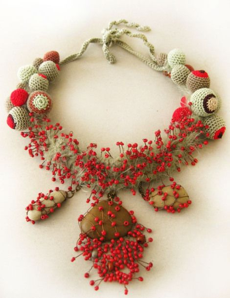 Necklace | Lidia Puica.  Stones, seed beads, wire, textiles.