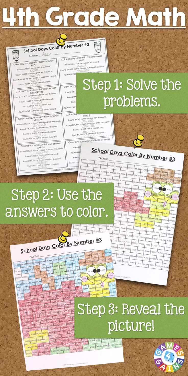 """This back to school math activities set comes with 6 different """"School Days"""" math color-by-number activities for reviewing and practicing place value and operations standards from 4th grade. This set is perfect to use as review with incoming 5th graders or as practice with 4th graders who are learning these skills."""