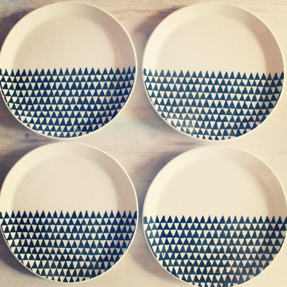 porcelain dinnerware 4 plates triangle by mbartstudios on Etsy, $152.00