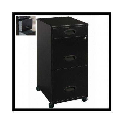 Mobile-File-Cabinet-Lockable-3-Drawer-Rolling-Black-Office-Home-Filing-Wheeled