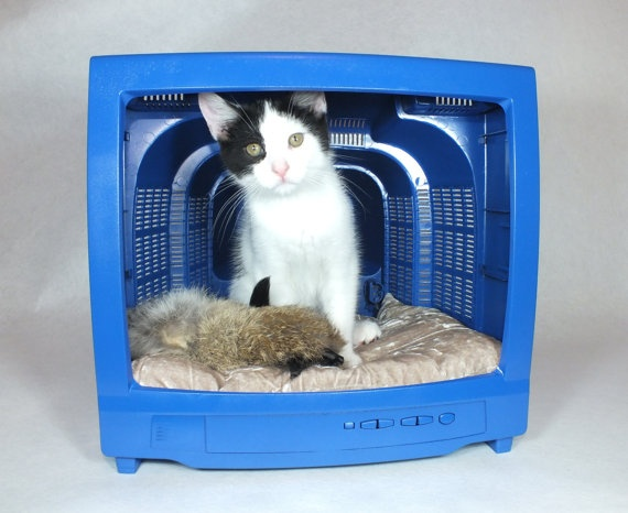 Modern Pet Bed Furniture Blue Recycled Upcycled by TheMidway. This is my favorite channel to watch!
