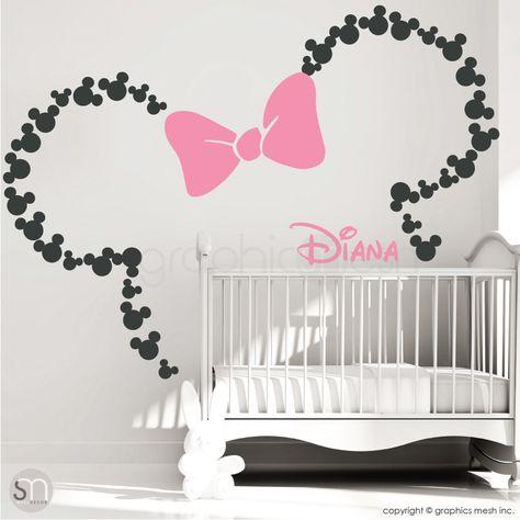 MINNIE MOUSE OHREN MIT BOGEN & PERSONALISIERTEM BABYNAME – Mickey Mouse inspirierte Wandtattoos