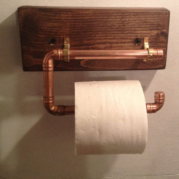 Industrial Look Copper Pipe Toilet Roll  Towel Holder by Gifts4one