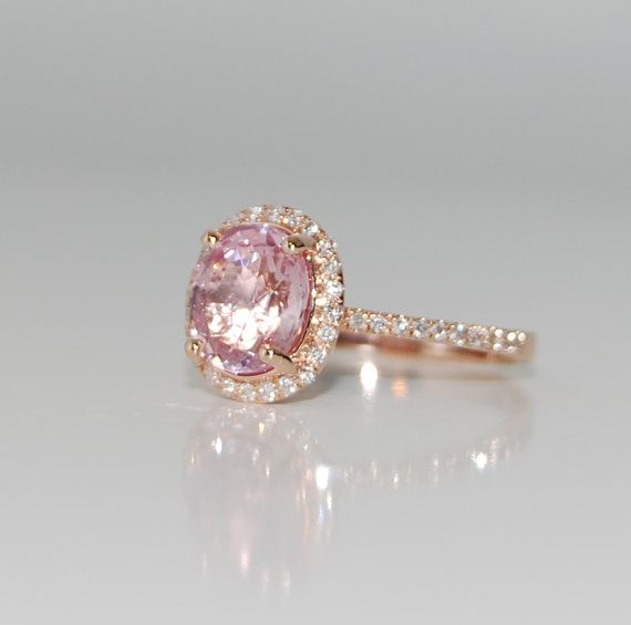2ct Oval Blush Peach Champagne Sapphire Diamond Ring 14k