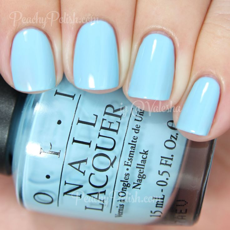 "OPI ""What's With The Cattitude?"" is a pale milky blue crelly"