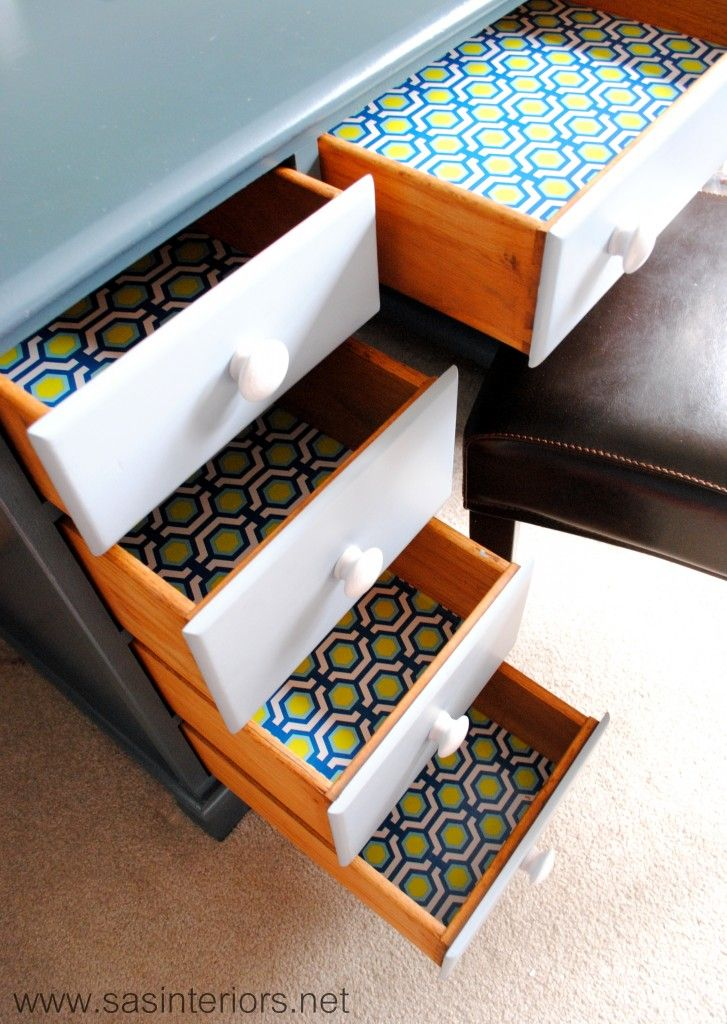 Painted desk with decorative inside drawers. Featured on TCB from SAS Interiors