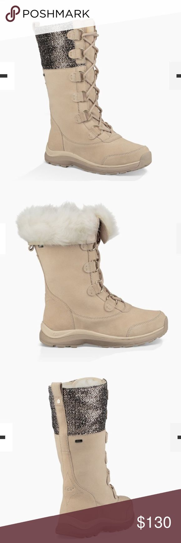 NEW UGG ATLASON FRILL. Color:CREAM This all-weather boot is outfitted with everything you need on the mountain – waterproof suede, cold-weather rating to -32˚C, wool lining, and a specialized outsole to keep you steady on wet ice. With silver hardware up the laces and metallic tweed on the calf, the Atlason Frill brings a festive feel to your outdoor adventures, while a cuffable shaft folds down to expose some signature UGG fluff. UGG Shoes Winter & Rain Boots