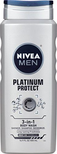3-in-1: Shower, Shampoo, Deodorize with Smart Deo TechonologyRemoves odor-causing substancesProvides a Platinum Level Clean without drying out the skinLathers well & rinses off easilyInvigorating Ocean Burst scent For men with an active lifestyle who want the combined benefits of a deodorizing shower gel and shampoo, all in one.         List Price: $ 4.   #16.9 #3In1 #Body #Fluid #NIVEA #Ounce #Platinum #Protect #Wash