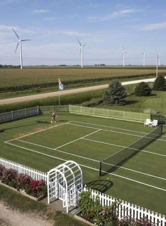 In the shadow of wind turbines, an improbable grass court draws tennis fans from around the country.Iowa Grass, Grass Tennis, Iowa Tennis, Tennis Anywh, Iowa Lawns, Tennis Club, Drawing Tennis, Deco Club, Lawns Tennis