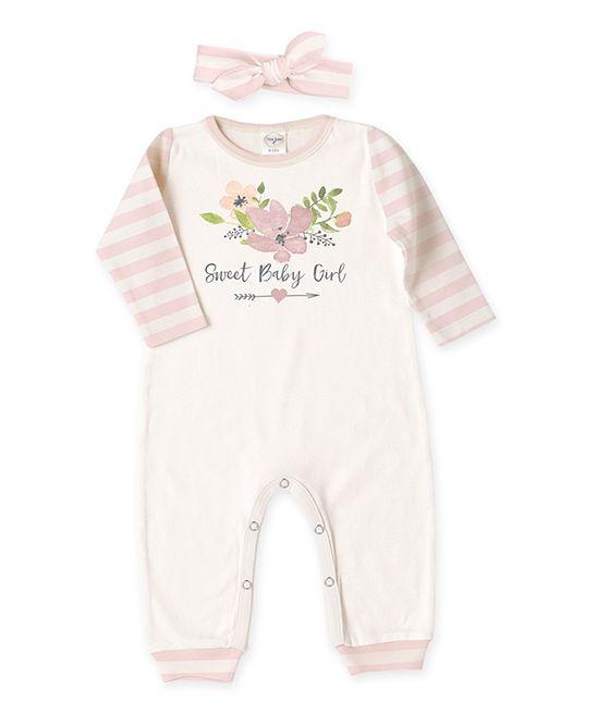 Ivory & Pink 'Sweet Baby Girl' Playsuit & Headband - Infant