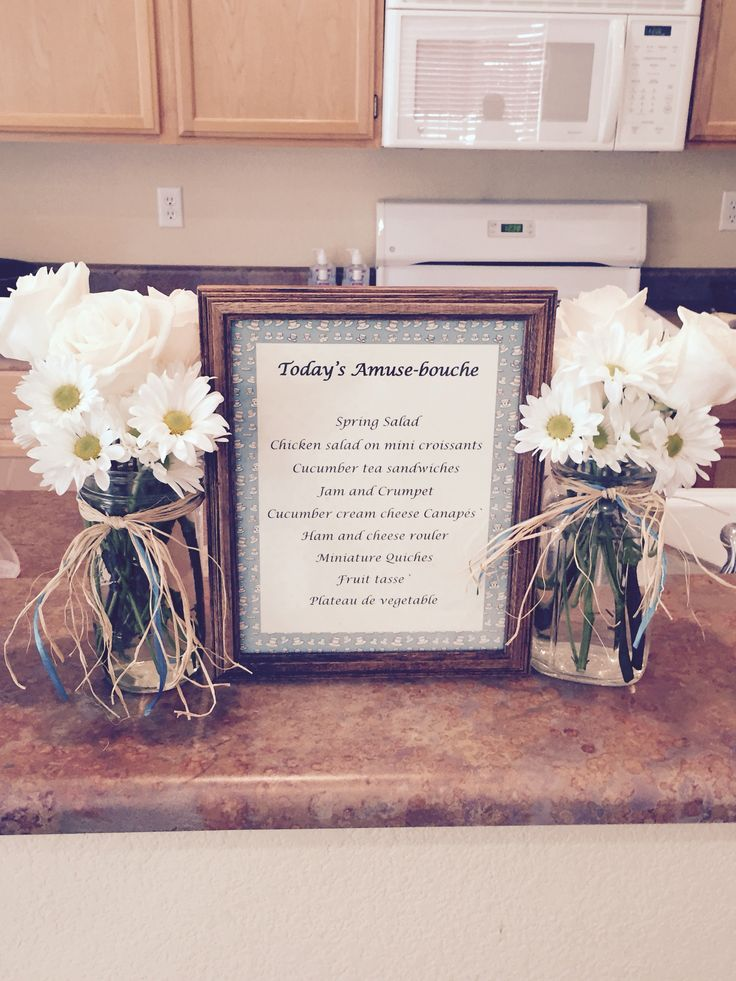 arrangements and menu for baby shower tea party party planning