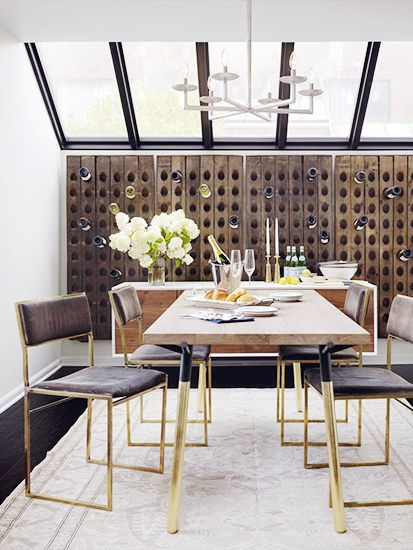 Rugs 101: Your Ultimate Guide to Rug Shopping // gold legged table, wooden tabletop, cream rug: Wood Wine Racks, Dining Rooms, Kwong Design, Wine Wall, Gold Accent, Wine Bottle, Catherine Kwong, Wine Storage, Dining Tables