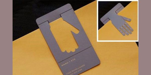 A business card for a craftsmanship studio. It looks like a semi-articulted metal hand and  can be used as a bookmark. #businesscard #creativite
