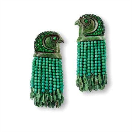 Vintage emerald hawk earrings