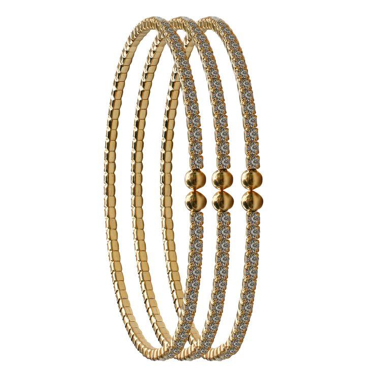 2mm Czech Crystal Bracelets Set of Three - Gold