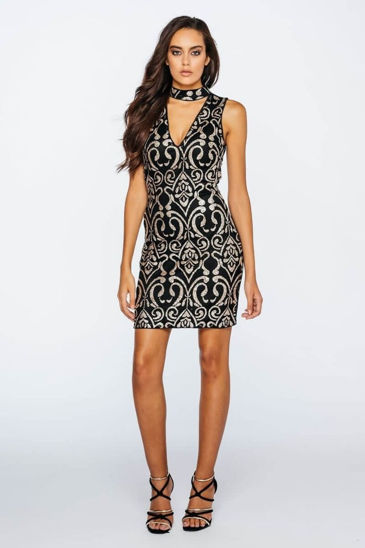 Sleeveless Choker V Neck Bodycon Dress
