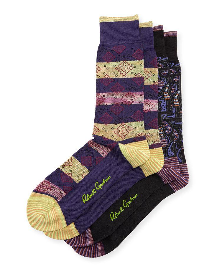Robert Graham Patterned Socks, Two-Pack, Black/Purple, Black/Purp
