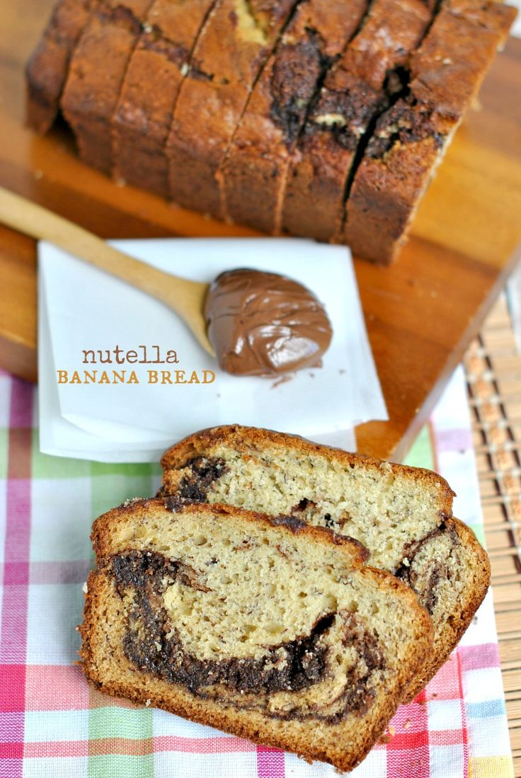 Nutella Banana Bread: super moist banana bread with thick swirls of Nutella baked in! This recipe is a keeper!