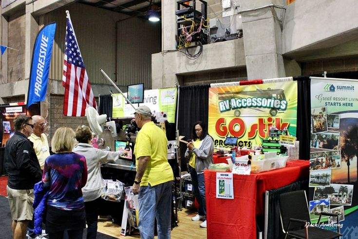 Inside the exposition building find dozens of manufacturers represented with the newest gadgets and gizmos to make RVing more enjoyable.