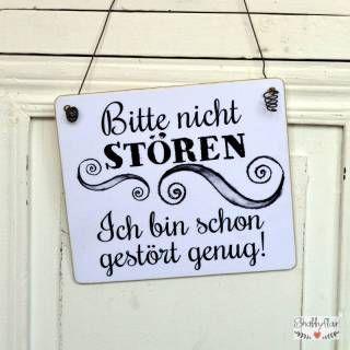 shabbyflair Witziges Schild aus Holz mit der Aufschrift: Bitte nicht stören - Ich bin schon gestört genug! Witziger Spruch fürs Büro oder am Arbeit