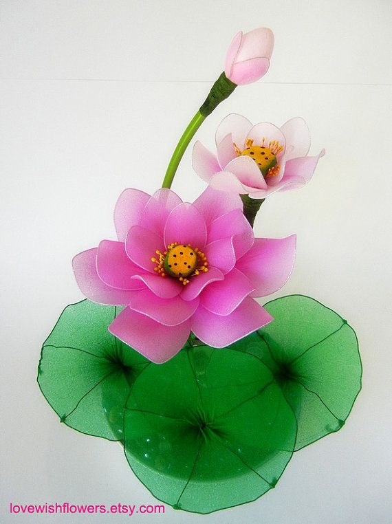 Pink and white Lotus. Handcraft nylon fabric by lovewishflowers