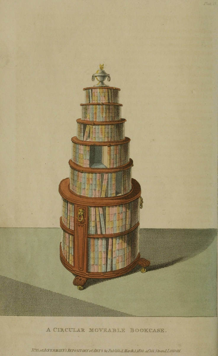 Man, is this cool - a round bookcase on casters. Regency Furniture 1809 -1815: Ackermann's Repository Series 1