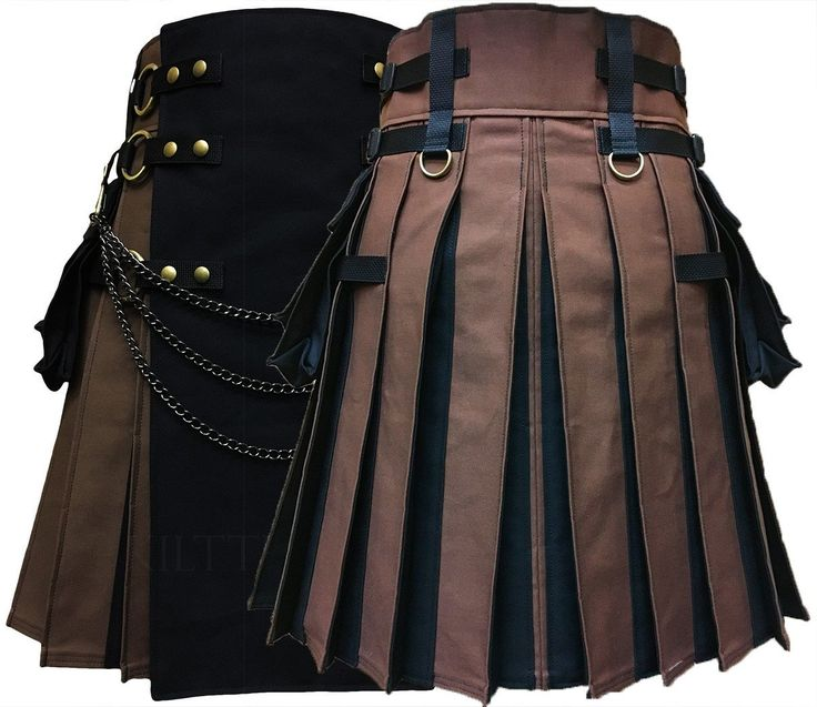 READY TO SHIP Interchangeable Brown Black Flash Pleats Canvas Cargo Utility Kilt Antique Brass Metals Gunmetal Kilt Chains
