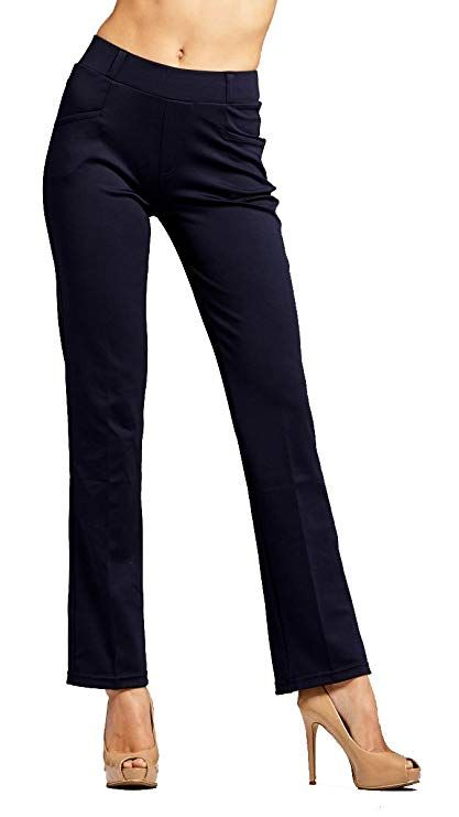 c608810c7c6 Conceited Premium Women s Stretch Dress Pants - Slim or Bootcut - All Day  Comfort in Solids
