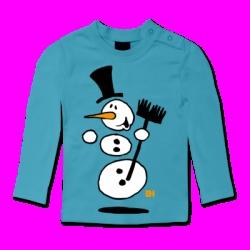 Dansende sneeuwpop / Dancing snowman Baby longsleeve. #ShirtCity #Cardvibes #Tekenaartje #Winter