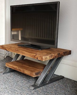 Rustic oak TV stand cabinet metal Z frame design industrial chic in