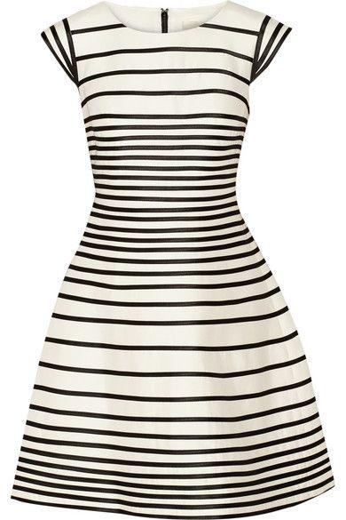 robe en soie blanche rayé noir halston heritage