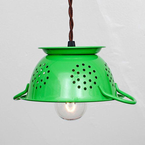 Luminaire suspendu de cuisine mini passoire  émail par FleaMarketRx, $82.00