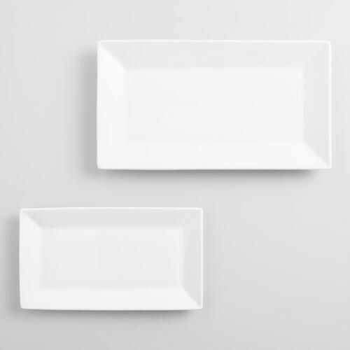 In a sleek rectangular shape, our platters are made from porcelain with a pure white finish to coordinate with our wide selection of dinnerware. Serve appetizers or family-style dishes effortlessly with these dishwasher- and microwave-safe platters.