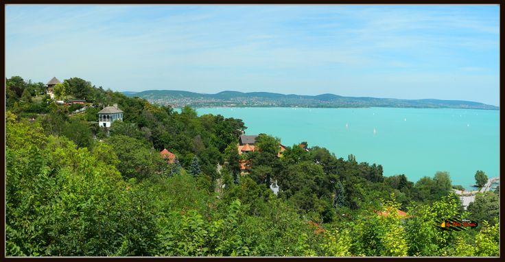 Panoramic view to Lake Balaton, Tihany, Hungary, Nikon Coolpix L310, panorama mode: segment 2, 2014