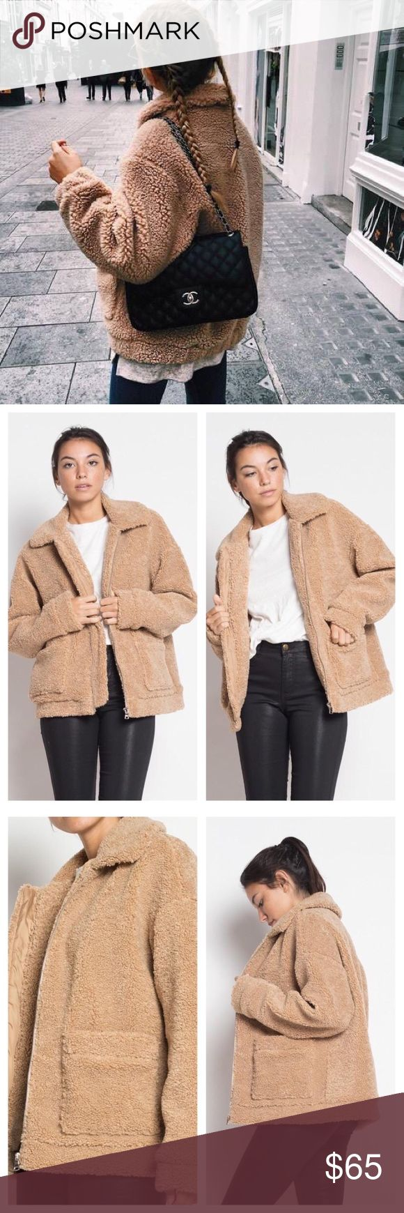 Oversized fluffy teddy bear tan jacket pockets - Brand new from our online store - No trades  - FIRM on price Breath of Youth Jackets & Coats Puffers
