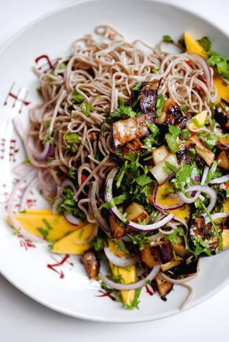 Yotam Ottolenghi's soba noodles with aubergine and mango is a delightfully balanced, flavoursome and satisfying meat-free dish. The refreshing cold buckwheat noodles, the sweet sharpness of the dressing and the musky mango combine to make the perfect substantial starter, while the addition of some fried firm tofu will transform it into a light main.