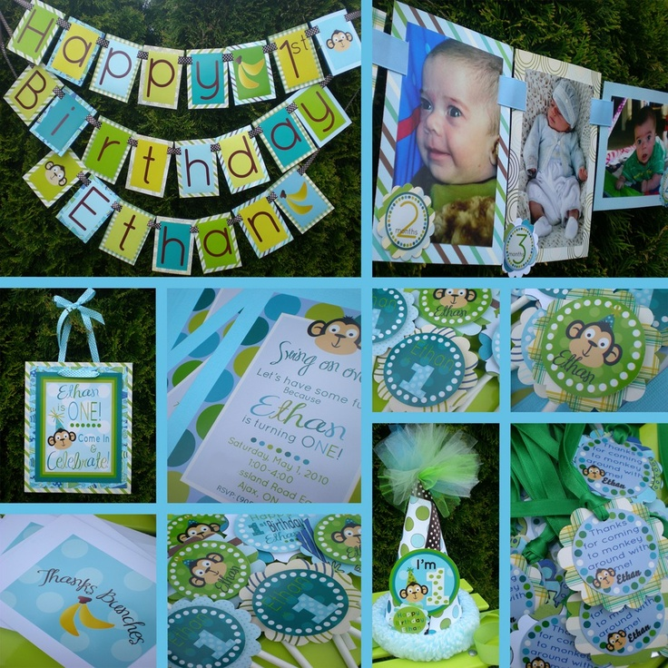 Monkey Birthday Party Ideas: boy monkey birthday party banner, door sign, cupcake toppers and more