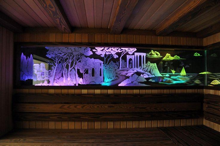 ВИТРАЖНОЕ ПАННО С ПОДСВЕТКОЙ  Техника исполнения: Витражные стекла изготовлены в технике рельефной, многоплановой пескоструйной гравировки с полутонами. Дополнительную объемность изображению придает программируемая RGB подсветка #artglass #артгласс #витражи #витражиспб #студияжогина #витраживинтерьере