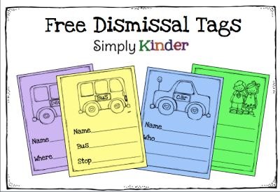 Dismissal Tag Fan Only Freebie {Simply Kinder}