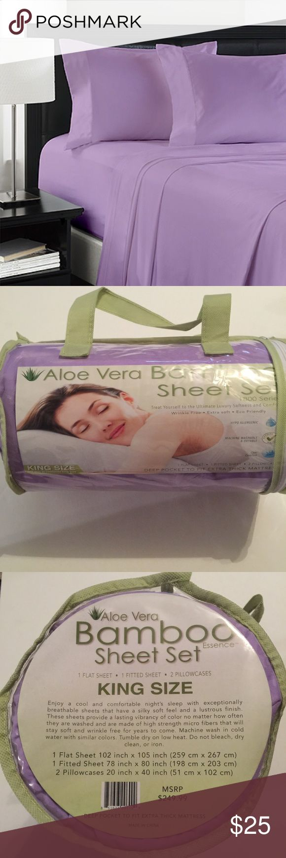 Aloe Vera bamboo sheet set king size Brand new Other
