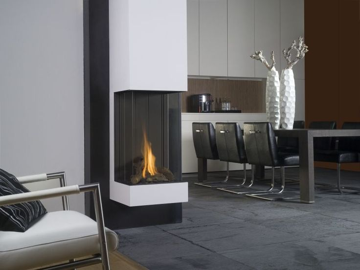 Gas fireplace / contemporary / 3-sided / closed hearth VIEW BELL VERTICAL Bellfires
