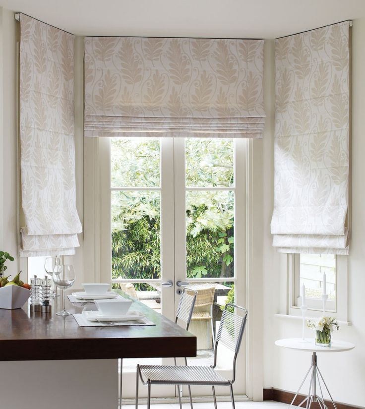 Mounted from ceiling roman blinds kitchen inspiration for Roman shades for bay window