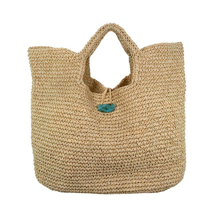 Everyday raffia straw bag with stone closure