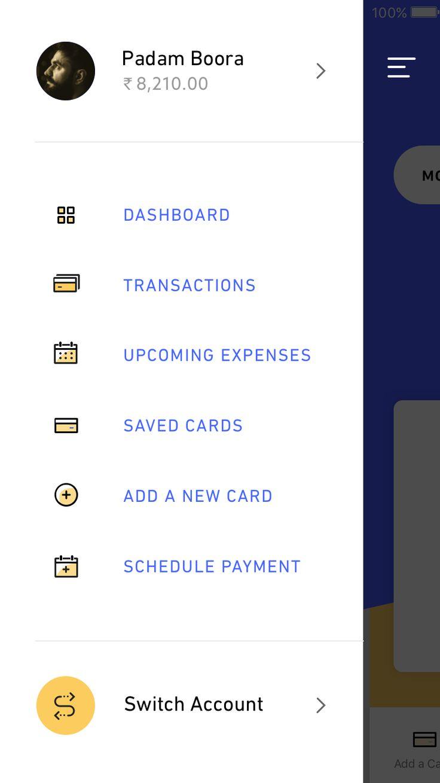 2 spending app menu
