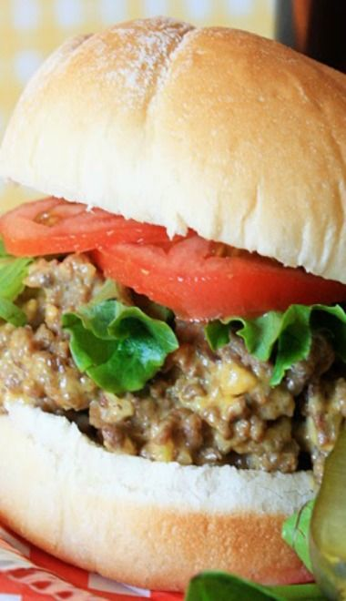 Crockpot Cheeseburgers...these are delicious and are cooked with onions, garlic, cheese and pickles right in your crockpot!
