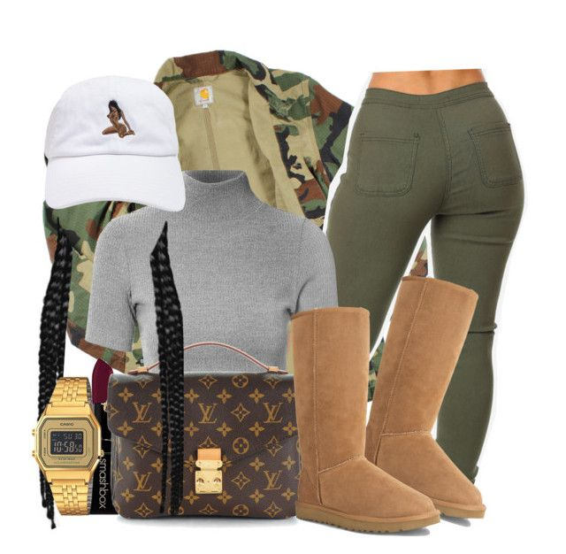 """""""You make me feel like I'm worth about a million dollars """" by tyrionnak ❤ liked on Polyvore featuring Carhartt, Glamorous, Smashbox, Louis Vuitton, UGG Australia and Casio"""